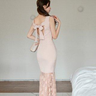 360度おしゃれな海外デザイン リボンやレースで大人かわいいボディコンロングドレス
