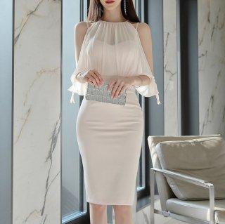 透け感シフォンでフェミニンに 上品セクシーなオープンショルダーの膝丈袖ありワンピース ドレス
