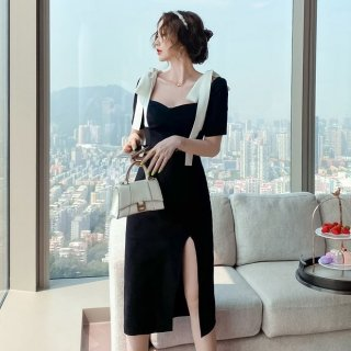 個性的でおしゃれな海外デザイン エレガントなモノトーンのリボン付きスリットワンピース タイトドレス