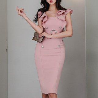 上品セクシーな海外アイテム ボリューミーなフリルショルダーの膝丈ボディコンワンピース ドレス 3色