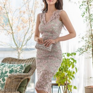上品かわいい花柄レース タイトシルエットが色っぽい膝丈ノースリーブワンピース ドレス