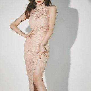 大胆セクシーな透かし彫りレース ロングスリットのマキシ丈ノースリーブボディコンドレス