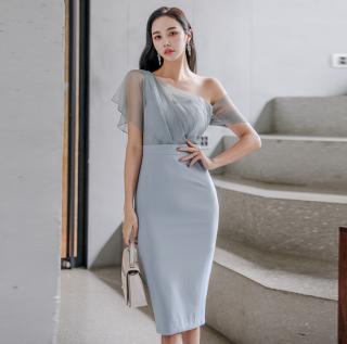 シフォンMIXでフェミニンに アシメな肩見せが色っぽい膝丈タイトドレス ワンピース