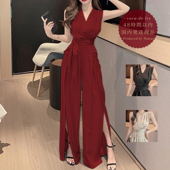 【即納】デートや同伴にも活躍 ロングスリットのノースリーブパンツドレス オールインワン 3色