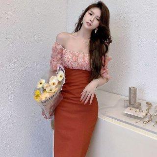 2way使える人気アイテム タイトなボディコンが色っぽいミディ丈切り替えワンピース ドレス 2色