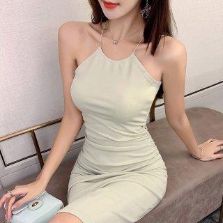 シンプルエレガントな海外デザイン タイトシルエットの膝丈ホルターネックワンピース ドレス