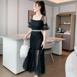 個性的でエレガントな黒ドレス ボリューミーなチュールがおしゃれなタイトロングドレス