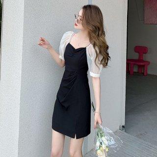 2way使える海外デザイン ふんわりシフォンスリーブのミニ丈バイカラータイトドレス ワンピース 2色