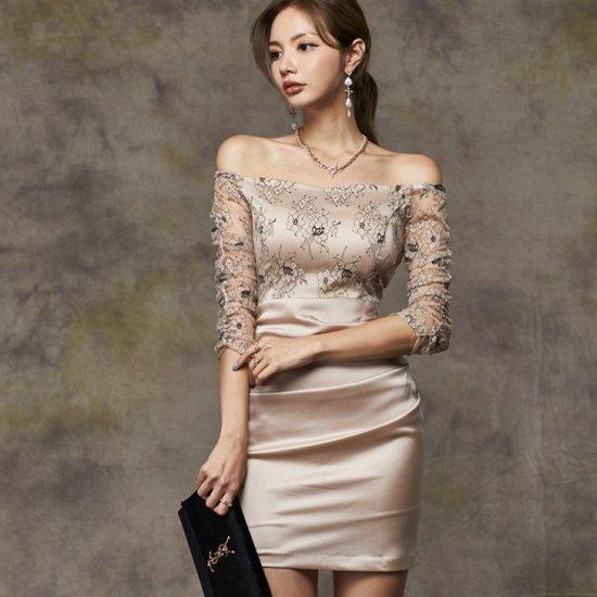 人気の海外デザイン 高見え抜群な花柄レースのミニ丈袖ありオフショルタイトドレス ワンピース