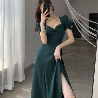 お呼ばれドレスにもおすすめ フリルパフ袖のロング丈スリットタイトワンピース 3色