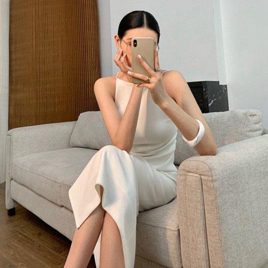 美シルエットな大人スタイル エレガントなロング丈きれいめノースリーブワンピース 2色 ドレス