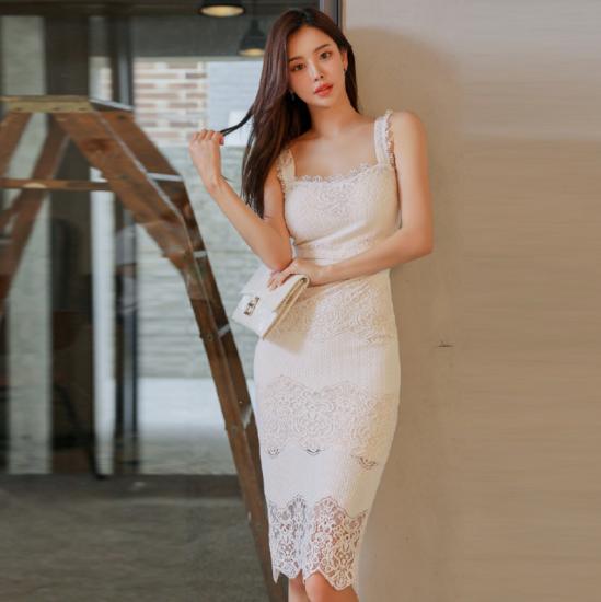 人気の海外デザイン 高見え抜群なホワイトレースの膝丈タイトドレス ワンピース