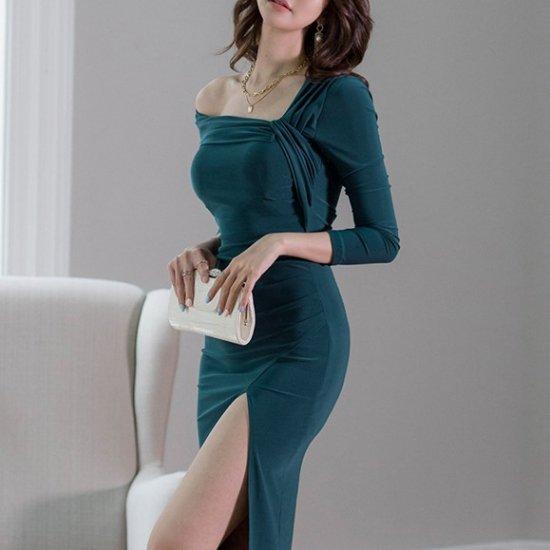 シンプルエレガントな海外デザイン アシメな肩見せが色っぽい膝丈ボディコンワンピース ドレス