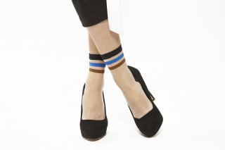 LINE SEE-THROUGH SOCKS<br>BLUE×BROWN<img class='new_mark_img2' src='https://img.shop-pro.jp/img/new/icons20.gif' style='border:none;display:inline;margin:0px;padding:0px;width:auto;' />の商品画像
