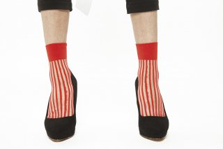 STRIPED<br>SEE-THROUGH SOCKS<br>REDの商品画像