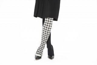 ASIMETRIC<br>HOUNDSTOOTH TIGHTS<br>BLACK×OFFの商品画像