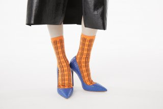 CHECK  JACQUARD SOCKS<br>ORANGEの商品画像