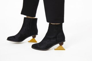 【FLEI】TRIANGLE HEEL BOOTS<br>BLACK×YELLOWの商品画像