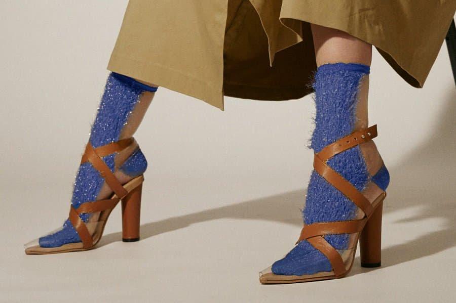 GLITTER FRINGE SEE-THROUGH SOCKS<br>BLUE