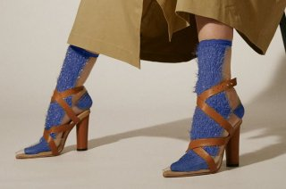 GLITTER FRINGE SEE-THROUGH SOCKS<br>BLUEの商品画像