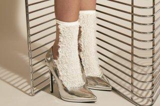 GLITTER FRINGE SEE-THROUGH SOCKS<br>WHITEの商品画像