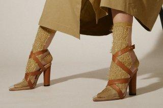 GLITTER FRINGE SEE-THROUGH SOCKS<br>GOLDの商品画像