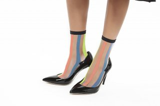 SEE-THROUGH STRIPED SOCKS<br>ORANGE×BLUE×YELLOWの商品画像
