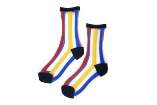 SEE-THROUGH STRIPED SOCKS<br>RED×YELLOW×BLUEの商品画像