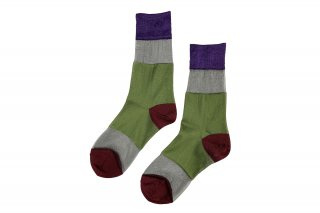SEE-THROUGH COLOR BLOCK SOCKS<br>PURPLE×GREEN×REDの商品画像
