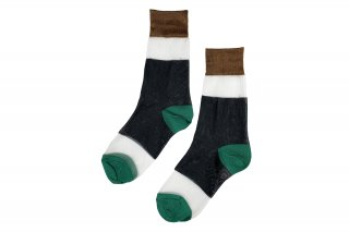 SEE-THROUGH COLOR BLOCK SOCKS<br>CAMEL×BLACK×GREENの商品画像