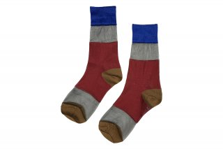 SEE-THROUGH COLOR BLOCK SOCKS<br>BLUE×RED×CAMELの商品画像