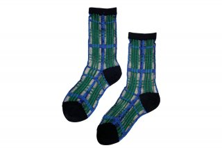 SEE-THROUGH CHECK SOCKS<br>BLUE×GREENの商品画像