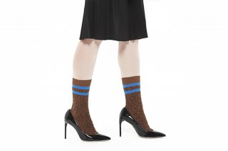 LINED LEOPARD SOCKS<br>BLUEの商品画像