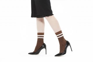 LINED LEOPARD SOCKS<br>WHITEの商品画像