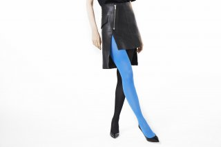 <b><font color='red'>NEW</font></b><br>SLIM FIT RIBBED TIGHTS<br>BLUE×BLACKの商品画像
