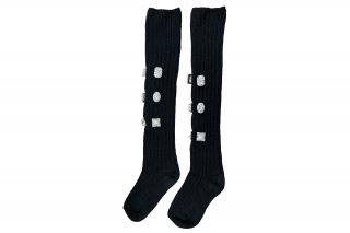 <b><font color='red'>NEW</font></b><br><br>LINED BIJOUX KNEE-HIGH SC<br>BLACKの商品画像