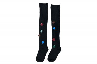 <b><font color='red'>NEW</font></b><br>COLORFUL BIJOUX KNEE-HIGH SC<br>BLACKの商品画像