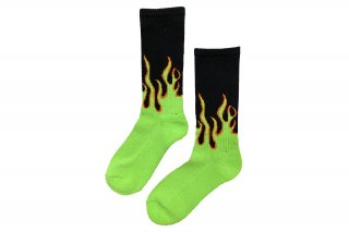 MENS/FIRE PATTERN SOCKS<br>BLACK×GREENの商品画像