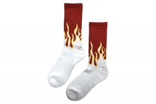 MENS/FIRE PATTERN SOCKS<br>RED×WHITEの商品画像