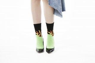 LADIES/FIRE PATTERN SOCKS<br>BLACK×GREENの商品画像