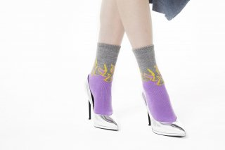 LADIES/FIRE PATTERN SOCKS<br>GRAY×PURPLEの商品画像