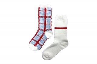 ASIMETRIC CHECK SOCKS<br>WHITEの商品画像