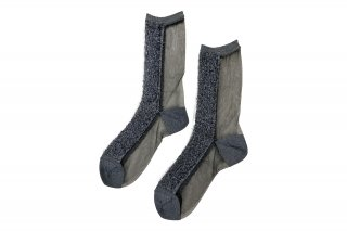 <b><font color='red'>NEW</font></b><br>LIMI feu×FAKUI SEE-THROUGH GLITTER SOCKS<br>NAVYの商品画像