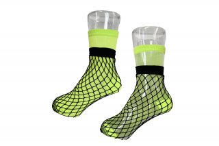 <b><font color='red'>NEW</font></b><br>LIMI feu×FAKUI SEE-THROUGH LAYERED SOCKS<br>NEONGREENの商品画像