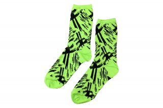<b><font color='red'>NEW</font></b><br>BLUSHED JACQUARD SOCKS<br>NEONGREEN×BLACKの商品画像