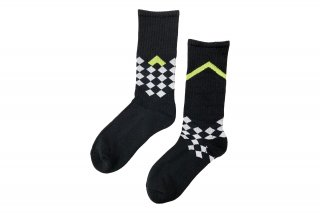 <b><font color='red'>NEW</font></b><br>UNISEX/CHECKER FRAG SPORTS SOCKS<br>BLACKの商品画像