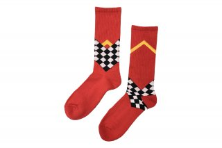 <b><font color='red'>NEW</font></b><br>UNISEX/CHECKER FRAG SPORTS SOCKS<br>REDの商品画像