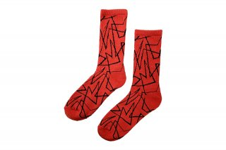 <b><font color='red'>NEW</font></b><br>UNISEX/GEOMETRIC LINED SPORTS SOCKS<br>RED×BLACKの商品画像