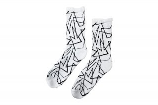 <b><font color='red'>NEW</font></b><br>UNISEX/GEOMETRIC LINED SPORTS SOCKS<br>WHITE×BLACKの商品画像