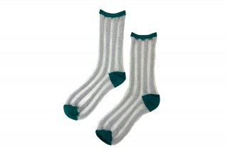 <b><font color='red'>NEW</font></b><br>SEE-THROUGH GLITTER STRIPE  SOCKS<br>GREEN×SILVERの商品画像
